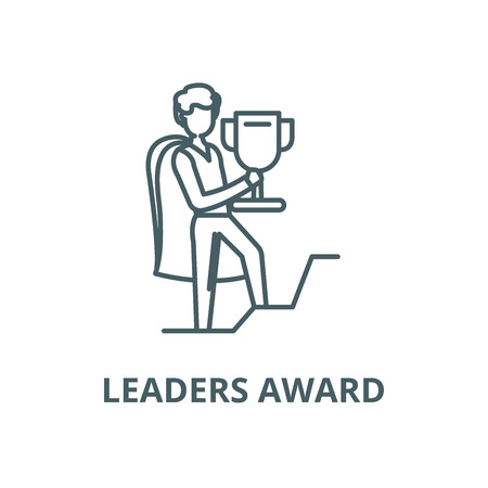 Leaders award vector line icon, outline concept, linear sign 向量圖像