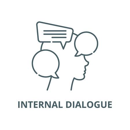 Internal dialogue vector line icon, outline concept, linear sign