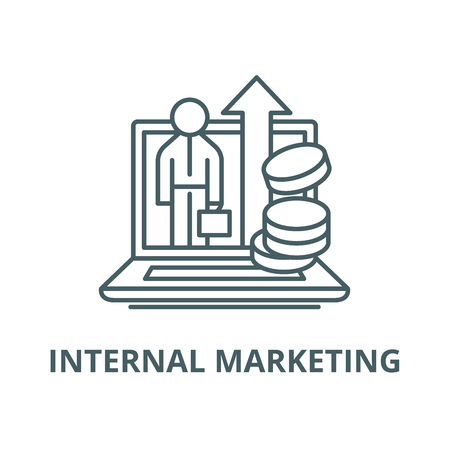 Internal marketing vector line icon, outline concept, linear sign