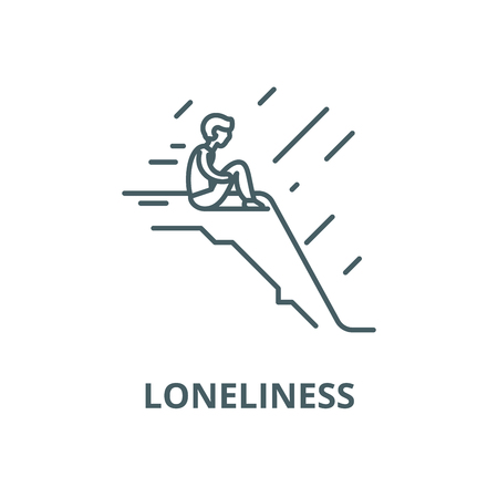 Loneliness vector line icon, outline concept, linear sign