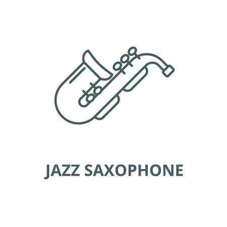 Jazz saxophone vector line icon, outline concept, linear sign Illustration