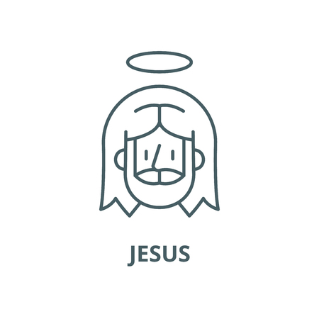 Jesus vector line icon, outline concept, linear sign Ilustracja
