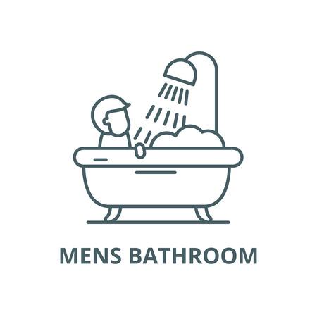 Herren-Badezimmer-Vektor-Liniensymbol, Umrisskonzept, lineares Zeichen Vektorgrafik