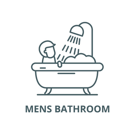 Mens bathroom vector line icon, outline concept, linear sign
