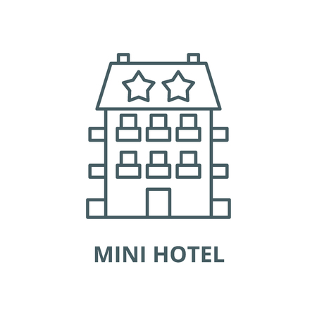 Mini hotel vector line icon, outline concept, linear sign
