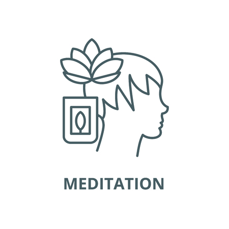 Meditation vector line icon, outline concept, linear sign Stock Illustratie