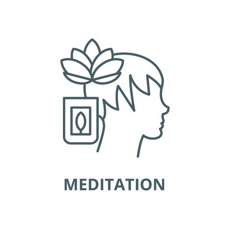 Meditation vector line icon, outline concept, linear sign Illustration