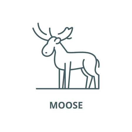 Moose vector line icon, outline concept, linear sign Illustration