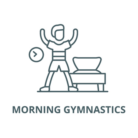 Morning gymnastics vector line icon, outline concept, linear sign