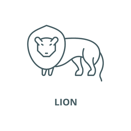 Lion vector line icon, outline concept, linear sign Illusztráció