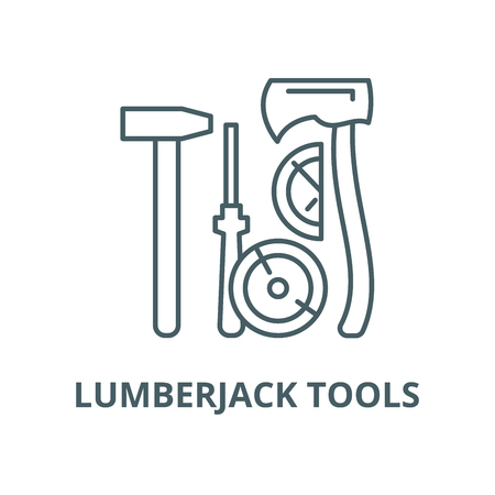 Lumberjack tools vector line icon, outline concept, linear sign Zdjęcie Seryjne - 122347935