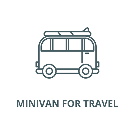 Minivan for travel vector line icon, outline concept, linear sign Illustration