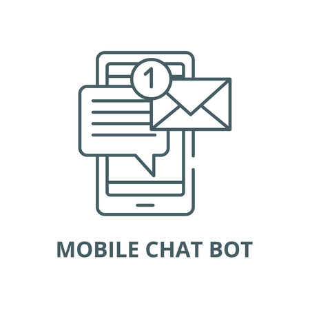 Mobile chat bot vector line icon, outline concept, linear sign
