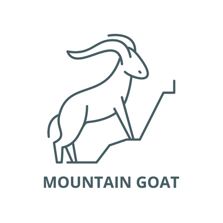 Mountain goat vector line icon, outline concept, linear sign Illustration