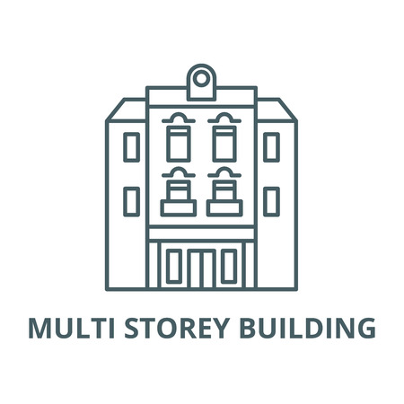 Multi storey building vector line icon, outline concept, linear sign