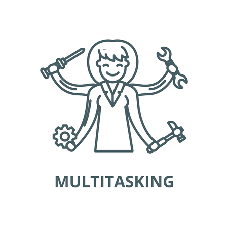 Multitasking vector line icon, outline concept, linear sign Illustration