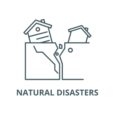 Natural disasters vector line icon, outline concept, linear sign Çizim
