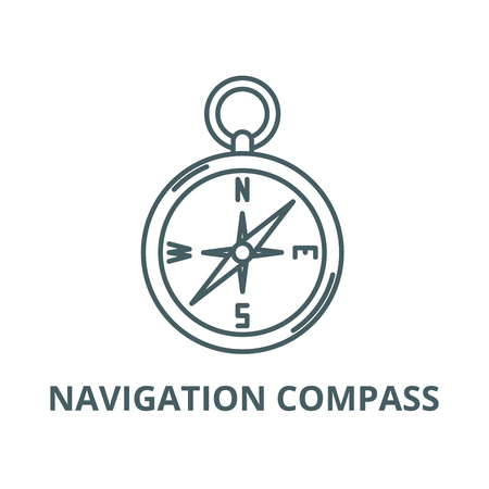 Navigation compass vector line icon, outline concept, linear sign