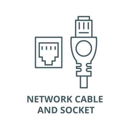 Network cable and socket vector line icon, outline concept, linear sign