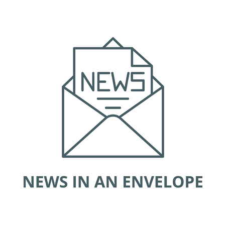 News in an envelope vector line icon, outline concept, linear sign