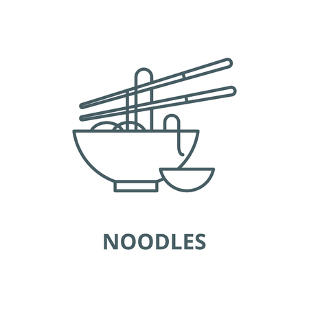 Noodles vector line icon, outline concept, linear sign