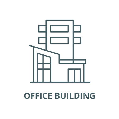 Office building vector line icon, outline concept, linear sign Foto de archivo - 122347888