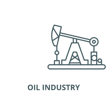 Oil industry vector line icon, outline concept, linear sign