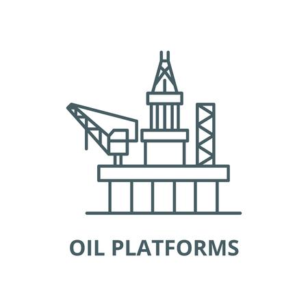 Oil platforms vector line icon, outline concept, linear sign