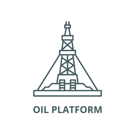 Oil production platform vector line icon, outline concept, linear sign