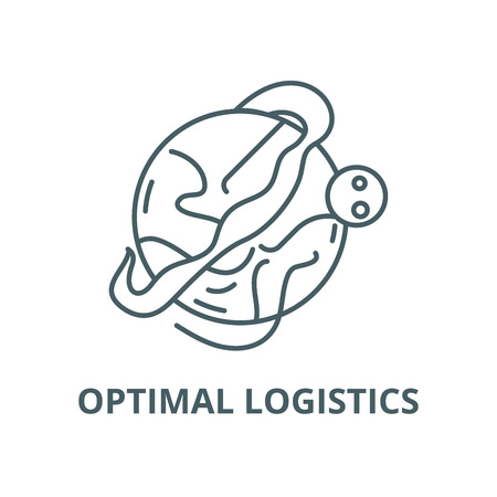 Optimal logistics vector line icon, outline concept, linear sign Illustration