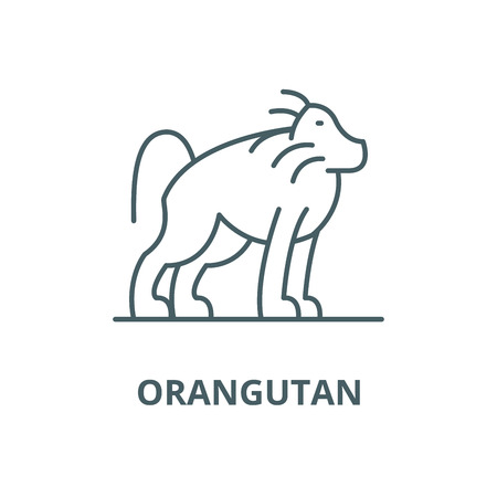 Orangutan vector line icon, outline concept, linear sign Vectores