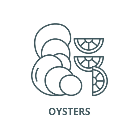 Oysters vector line icon, outline concept, linear sign Illustration