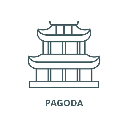 Pagoda vector line icon, outline concept, linear sign