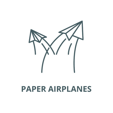 Paper airplanes vector line icon, outline concept, linear sign Stock Illustratie