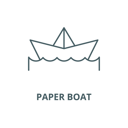 Paper boat vector line icon, outline concept, linear sign