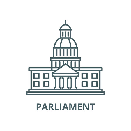 Icona della linea del vettore del Parlamento, concetto di contorno, segno lineare
