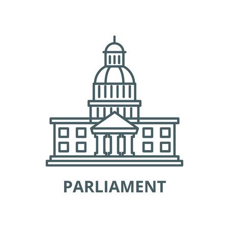 L'icône de la ligne du vecteur Parlement, concept de contour, signe linéaire