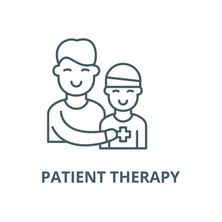 Patient therapy vector line icon, outline concept, linear sign Ilustracja