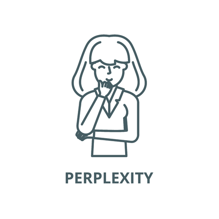 Perplexity vector line icon, outline concept, linear sign