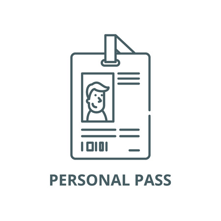 Personal pass vector line icon, outline concept, linear sign
