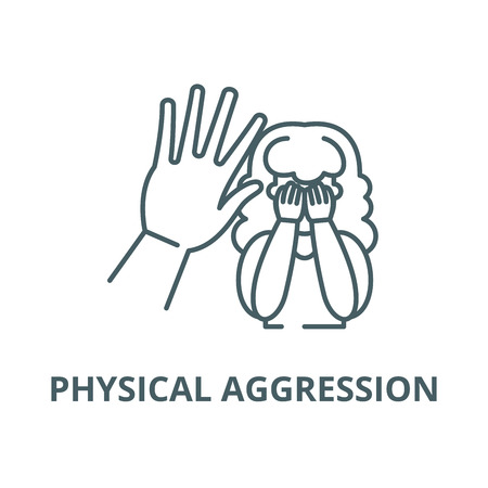 Physical aggression vector line icon, outline concept, linear sign