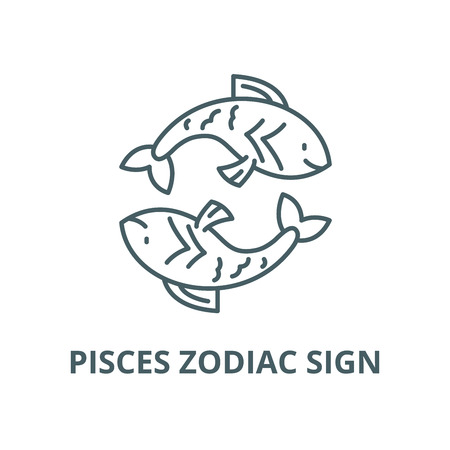 Pisces zodiac sign vector line icon, outline concept, linear sign Stok Fotoğraf - 122348078