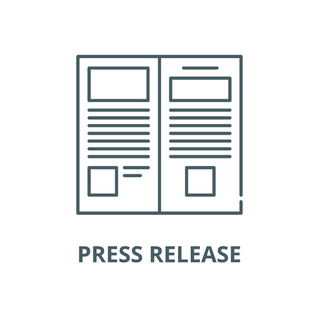 Press release vector line icon, outline concept, linear sign 向量圖像