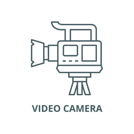 Professional video camera vector line icon, outline concept, linear sign