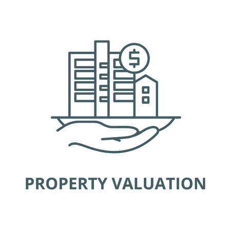 Property valuation vector line icon, outline concept, linear sign Illusztráció
