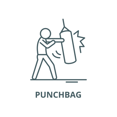 Punchbag vector line icon, outline concept, linear sign  イラスト・ベクター素材