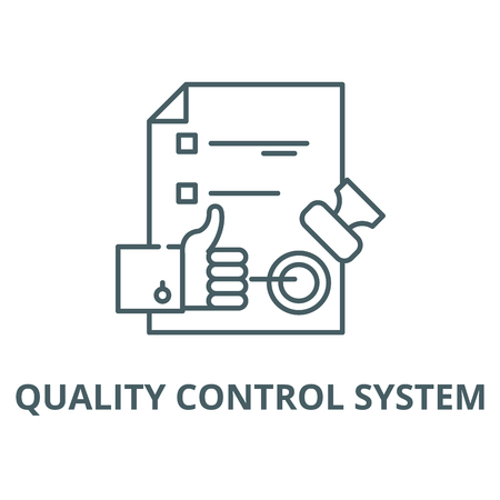 Quality control system vector line icon, outline concept, linear sign