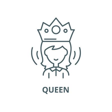 Queen vector line icon, outline concept, linear sign Foto de archivo - 122348027