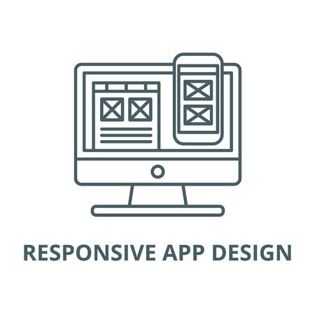 Responsive app design vector line icon, outline concept, linear sign Stock Vector - 122348184