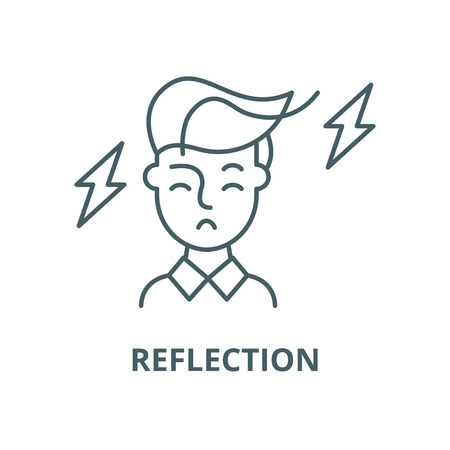 Reflexionsvektorliniensymbol, Umrisskonzept, lineares Zeichen